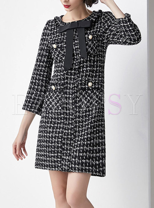 Autumn Black Tie-neck Bowknot Tweed Elegant Dress