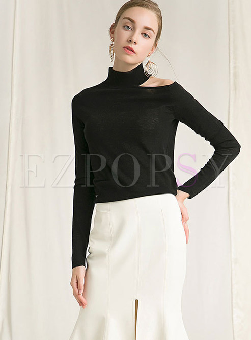 07972c7e764cd Sweaters.   Stylish Half High Neck Off Shoulder ...