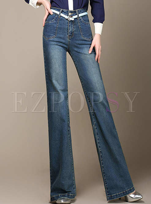 Trendy Deep Blue High Waist Slim Flare Pants