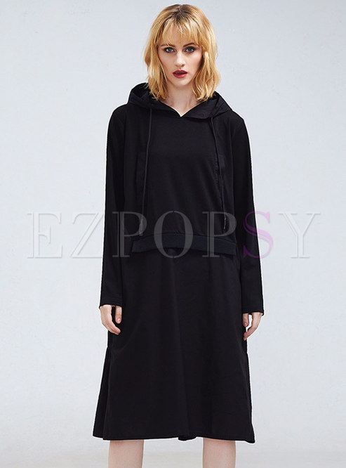 Casual Black Hooded Splicing Long Hoodie