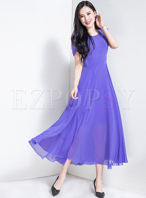 Purple O-neck Big Hem Slim Maxi Dress