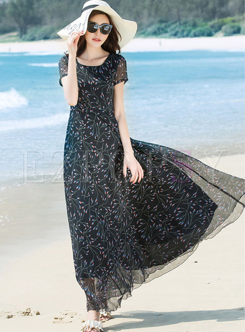 Stylish Floral Print Short Sleeve Chiffon Dress