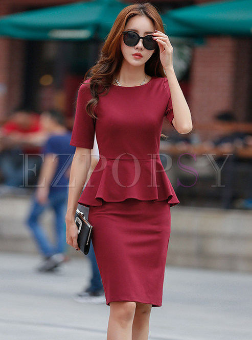 Half Sleeve Falbala Slim Dress