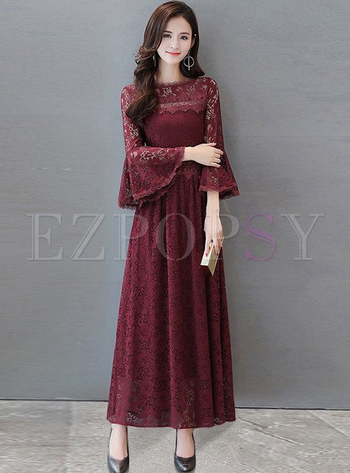 Sexy Lace Flare Sleeve Plus Size Maxi Dress