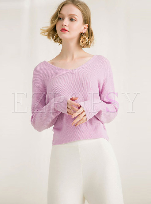 Sexy V-neck Long Sleeve Pullover Loose Sweater