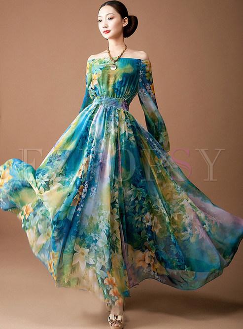 Blue Square Neck High Waist Maxi Dress