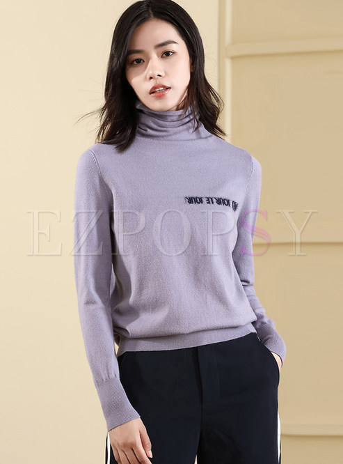 Casual Turtle Neck Long Sleeve Bottoming Sweater