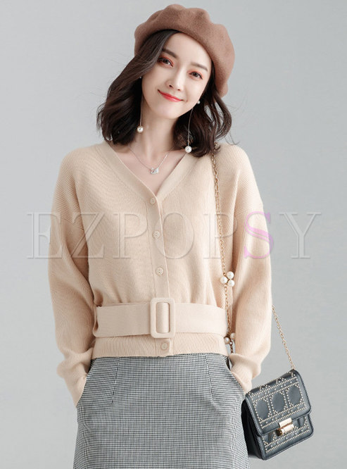 V-neck Slim Pullover Cropped Sweater
