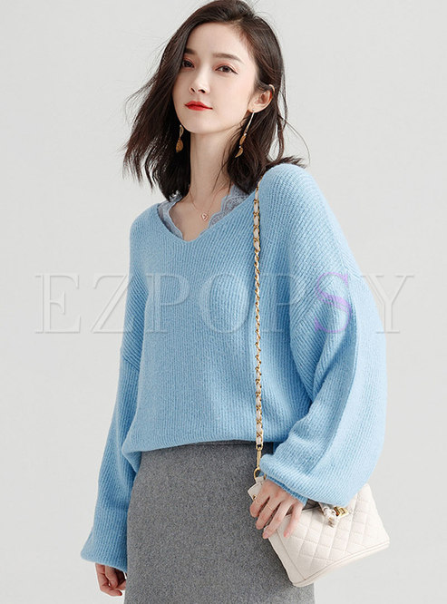 Chic Blue V-neck Mohair Knitted Sweater With Split