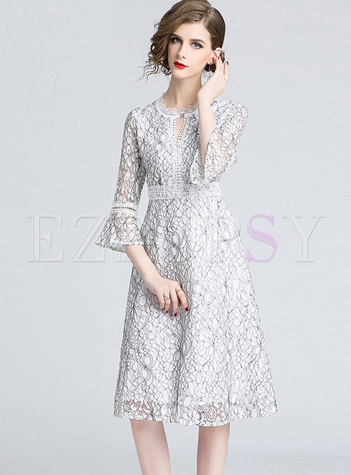 O-neck Hollow Out Flare Sleeve A Line Dress