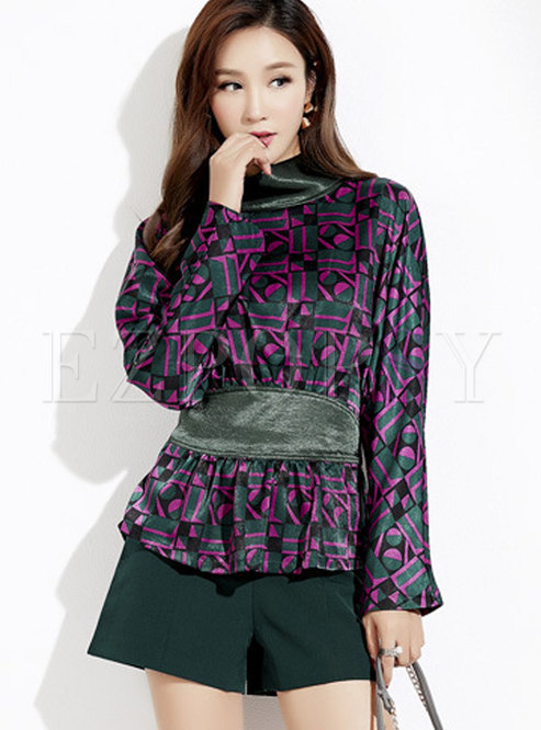 Autumn Stand Collar All Over Print Pullover Top