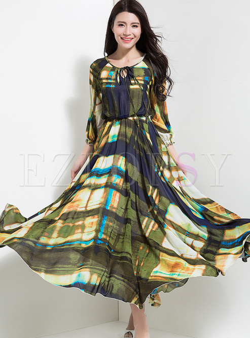 Vintage Multicolor Print Elastic Waist Maxi Dress