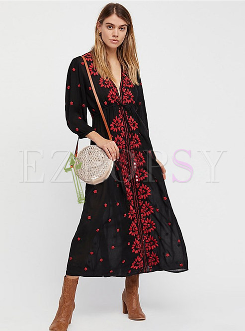 Ethnic V-neck Embroidery Maxi Dress