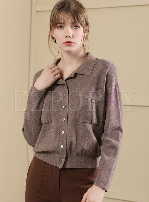 Trendy Turn-down Collar Rabbit Single-breasted Sweater