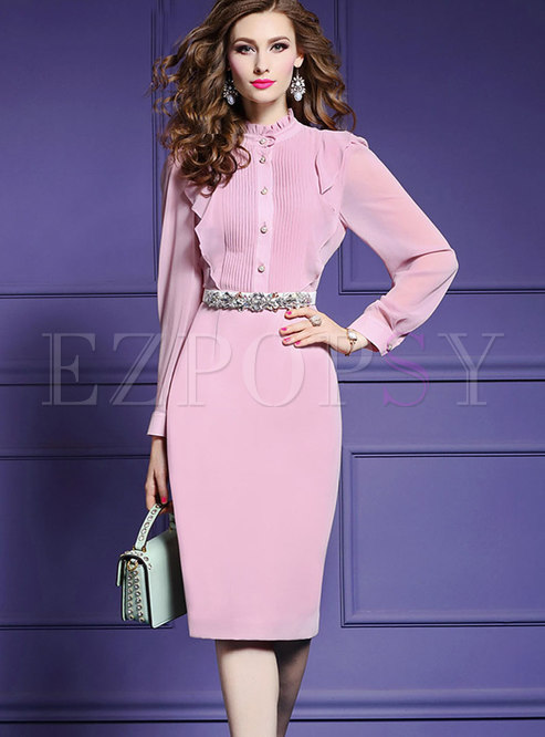 Chic Autumn Gathered Waist Split Bodycon Dress With Embroidery