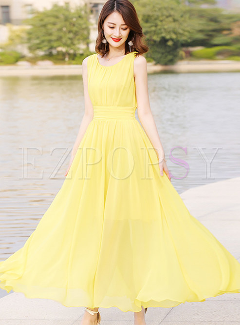 Yellow O-neck Sleeveless Waist Maxi Dress