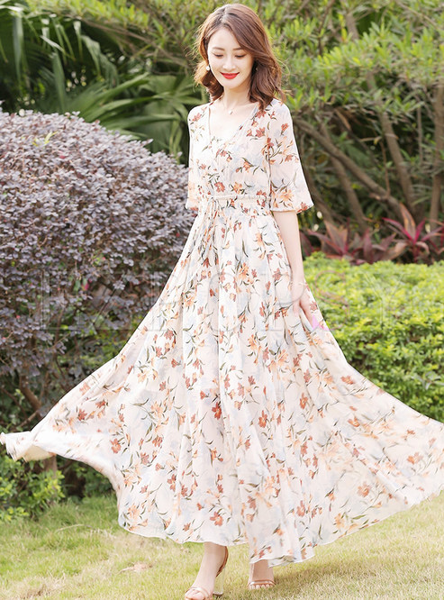 Sweet Print Adjustable Waist Maxi Dress