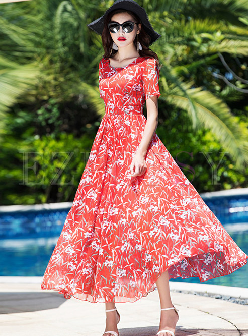 Red Flower Print Short Sleeve Maxi Dress