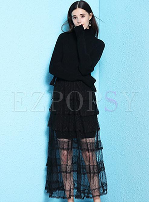 Black Turtle Neck Sweater & Mesh Maxi Dress