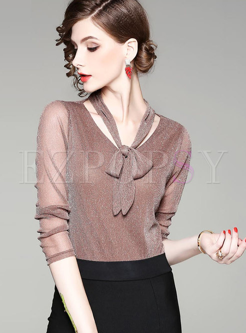 Stylish Pure Color O-neck Tie Slim T-shirt