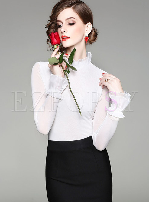 Mock Neck Solid Color Ruffle Slim Blouse
