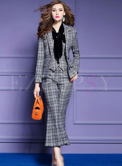 Autumn Hairy Plaid Blazer & Grey Skinny Flare Pants