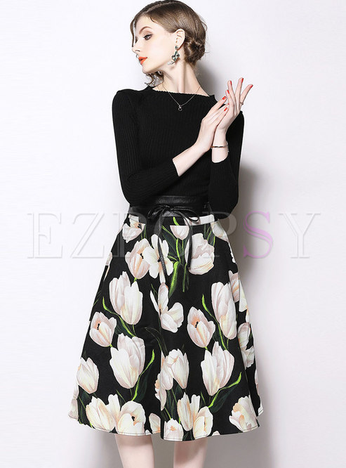 Trendy Splicing Print Belted Slim Knitted Dress