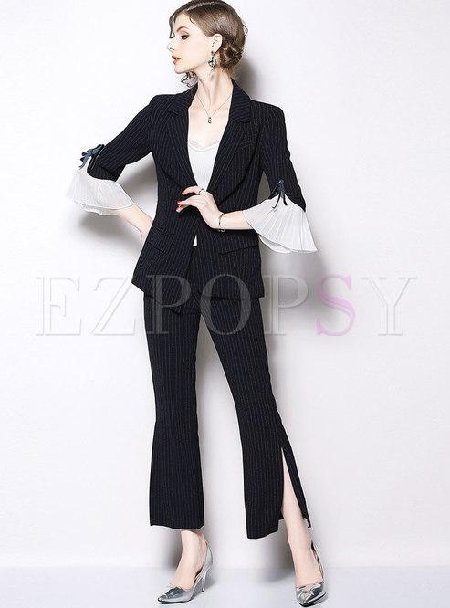 Work Striped Flare Sleeve Blazer & Striped Side-slit Flare Pants