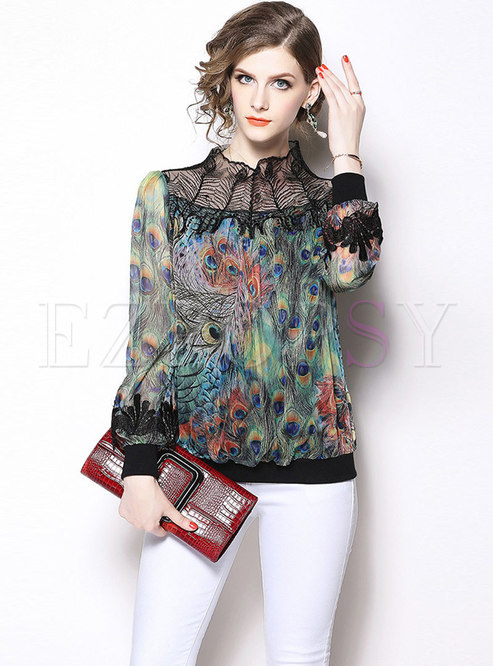 Chic Lace Splicing Print Stand Collar Blouse