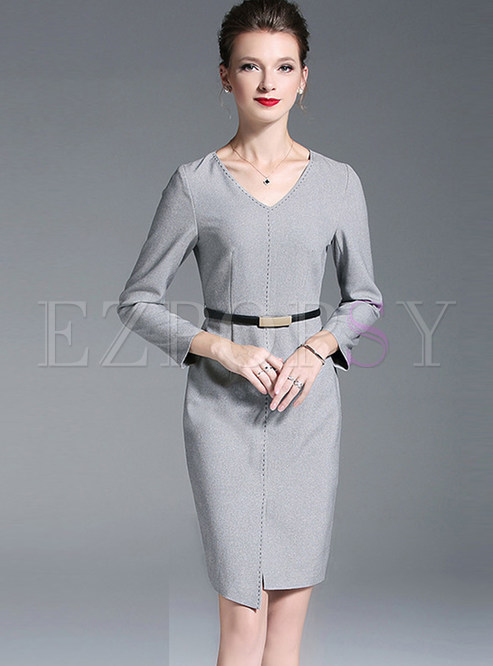 V-neck Asymmetric Slit Sheath Dress Without Belt