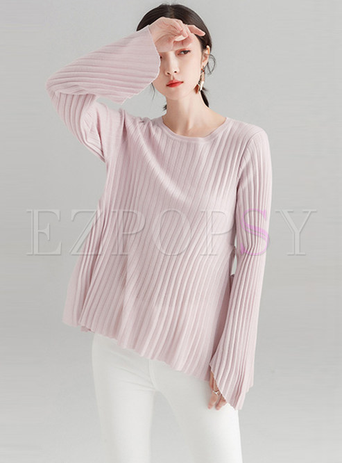 Solid Color Flare Sleeve Tied Slit Knitted Sweater