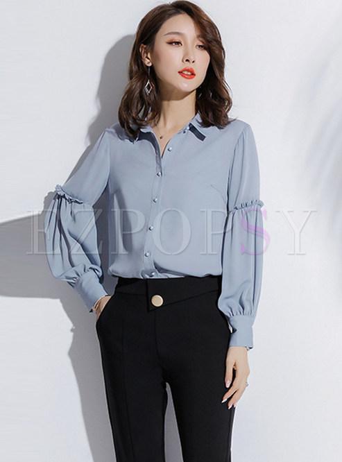 Trendy Pure Color Lantern Sleeve Single-breasted Falbala Chiffon Blouse
