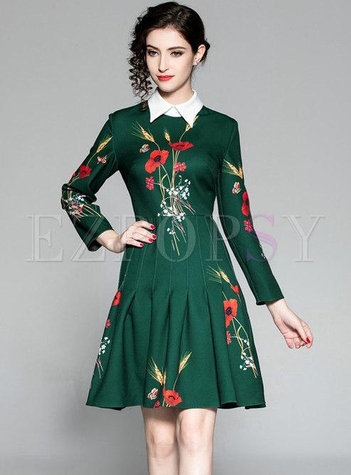 Elegant Contrast-collar Embroidered High Waist Dress