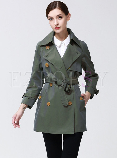 Turn Down Collar Belted Slim Trench Coat