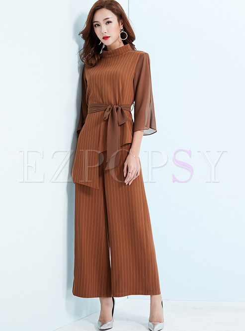 Standing Collar Striped Waist Top & Straight Pants