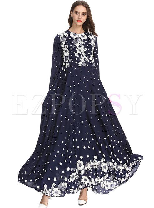 Vintage O-neck Floral Muslim Big Hem Maxi Dress