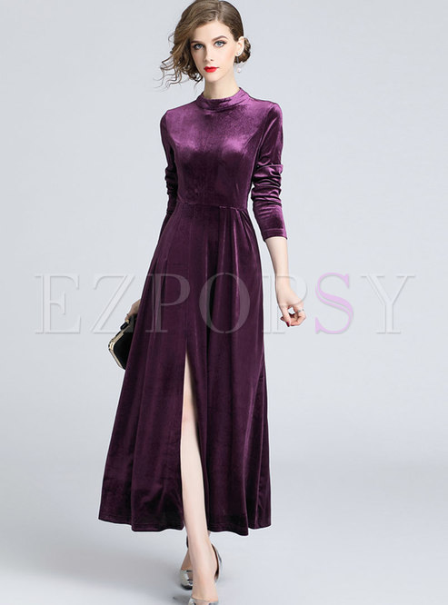 Elegant Stand Collar Velvet Retro Pleated Maxi Dress