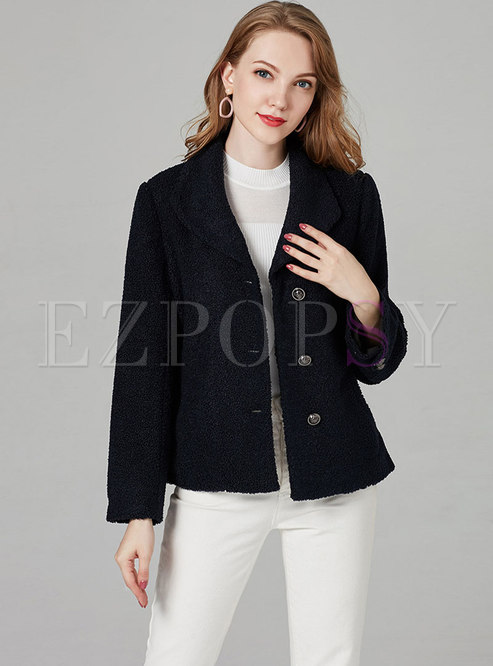 Stylish Solid Color Turn Down Collar Single-breasted Short Coat