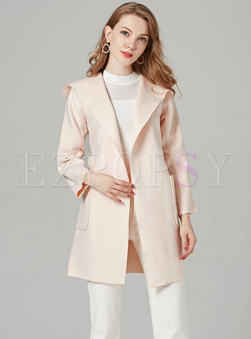 Solid Color Hooded Belted Slim Woolen Coat