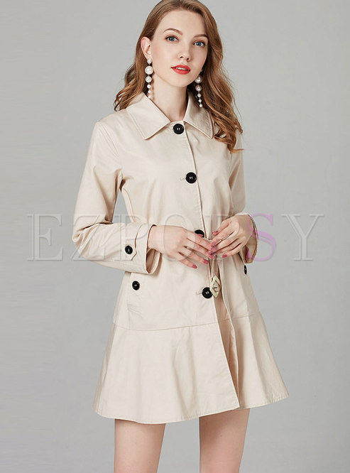 Pure Color Lapel Belted Falbala Single-breasted Trench Coat