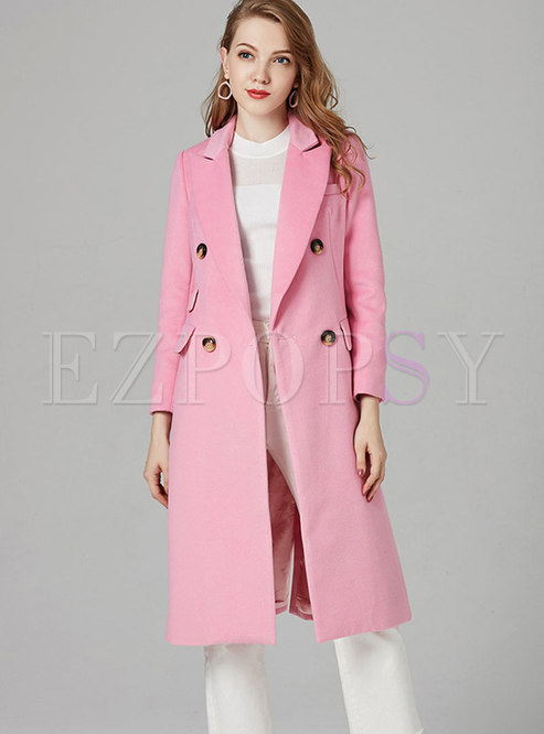 Brief Pink Turn Down Collar Slit Slim Coat