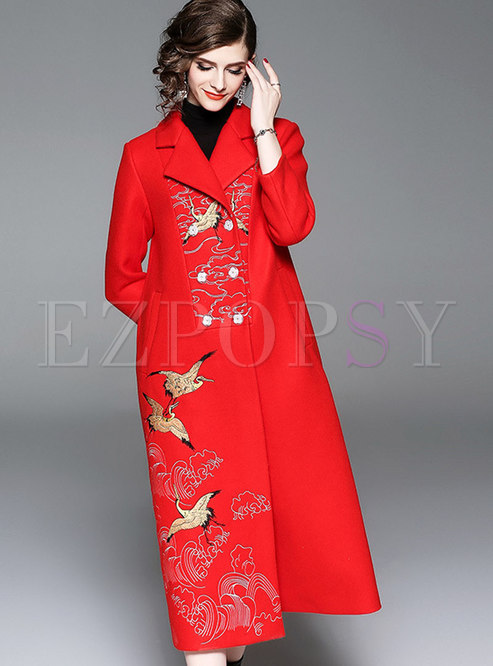 Plus Size Wool Double-breasted Trench Coat