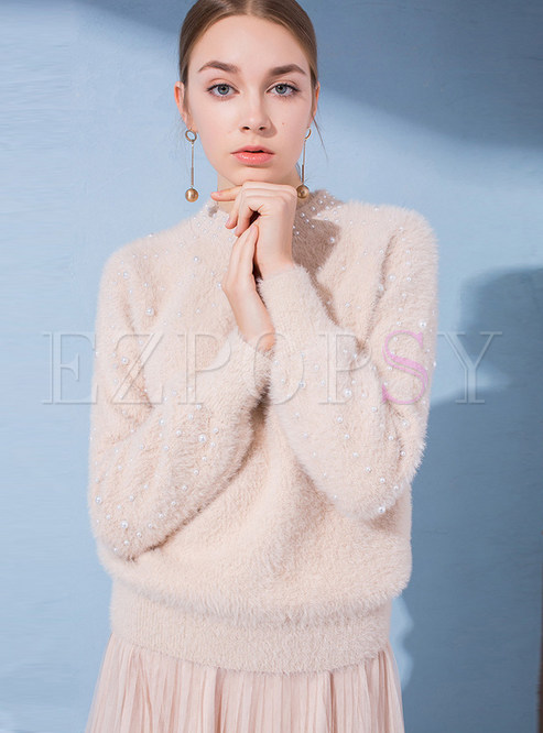 Loose O-neck Long Sleeve Beaded Sweater