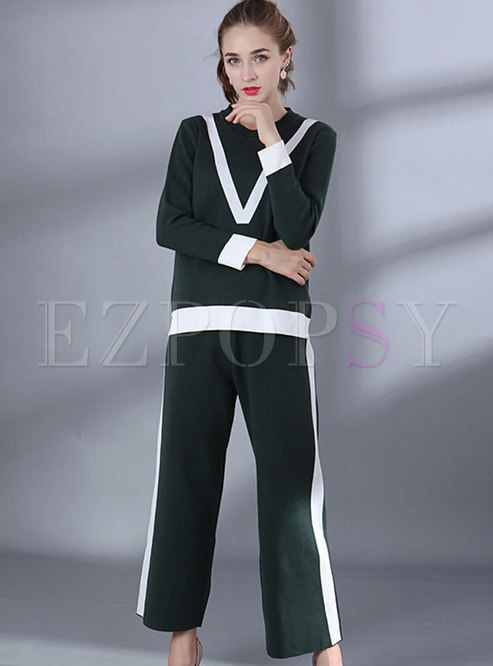 Casual Color-blocked O-neck Knitted Sweater & Knitted Wide Leg Pants