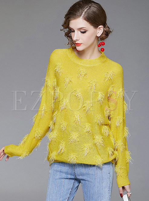 O-neck Long Sleeve Feather Pullover Sweater