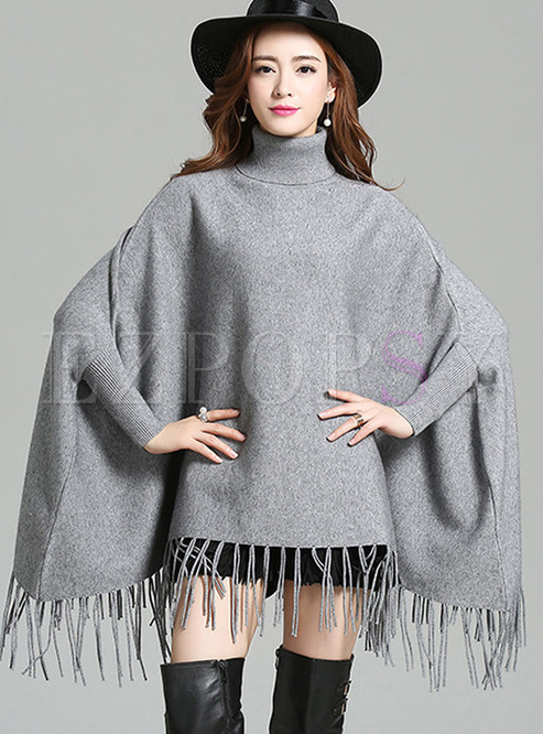 Pure Color Loose Fringed Cape Sweater