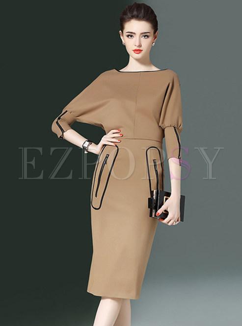 Trendy Khaki Slash Neck Slim Bodycon Dress With Zip-up