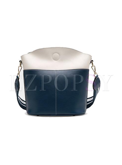 Casual Color-blocked Split Cowhide Barrel Bag