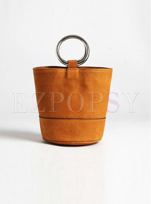 Retro Suede Cowhide Barrel Bag