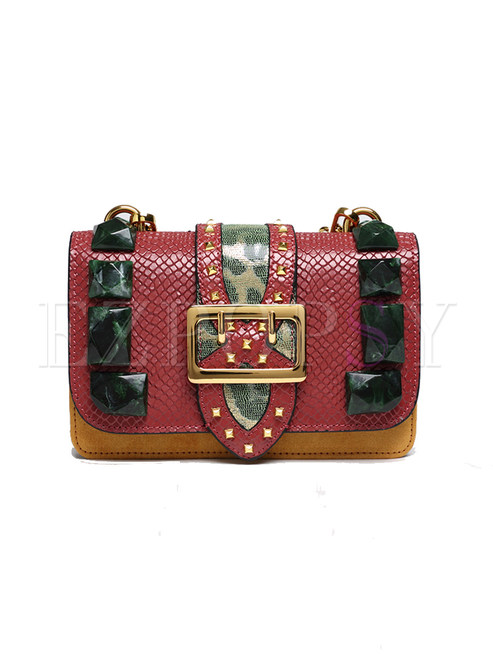 Chic Rivet Serpentine Crossbody Bag